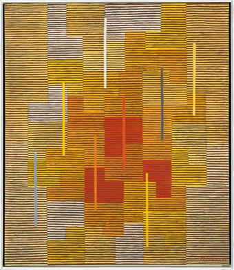 Adolf Fleischmann, Composition 12 yy, vibration en jaune-...