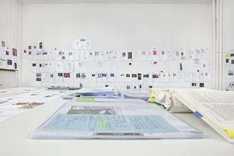 Studio Bethan Huws, exhibition preparation, 2016.  Photo: Hans-Georg Gaul, Berlin. Daimler Art Collection, Stuttgart/Berlin.Hermann und Margrit Rupf-Stiftung, Kunstmuseum Bern © Sucesión Pablo Picasso, VEGAP, Madrid, 2016.