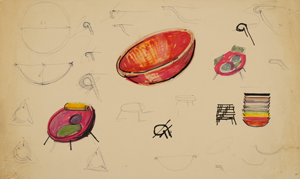 Sketches for the Bardi Bowl chair, 1951