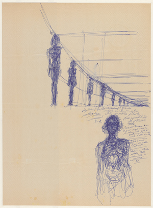 Alberto Giacometti Annette Naked Standing and Standing Women in Perspective (Annette nue debout et femmes debout en perspective), ca. 1955