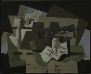 Georges Braque, Guitar, Glass, and Fruit Dish on Sideboard