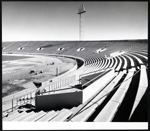 View of the uncovered bench of al-Sha'ab ('People's') Stadium, Baghdad, c. 1965