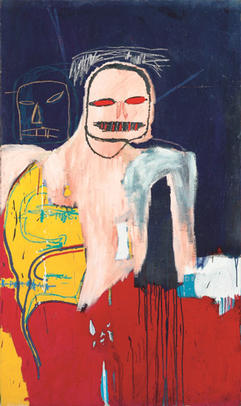 Jean-Michel Basquiat Head and Scapula Signed, titled and dated 1983 on the reverse